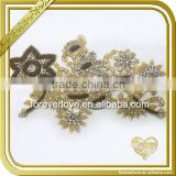 Handmade crystal gold rhinestone embroidered patches bridal beaded appliques wholesale FHA-050