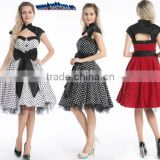 Bestdress cheap pin up Vintage 1950s 60s Swing Black White Red Polka Dot Evening Party rockabilly dress boutique