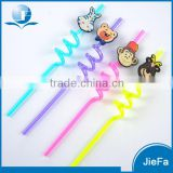 PVC Toy Drinking Straw Wholesale Custom Cartoon Design Straw Printed Flexible Drinking Straws