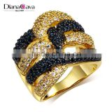 Wholesale Jewelry Smart Chunky Style Look Cubic Zirconia Black White CZ Party Ring