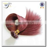 Wholesale high quality color 99j pre bonded flat tip hair extensions 100% brazilian virgin human hair                                                                                                         Supplier's Choice