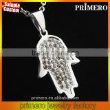Stainless Steel Crystal Hamsa Fatima Hand Charm Pendant Chain Necklace Lucky Jewellery