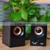 active speaker with Ac power wooden 2.0 channel speaker system