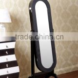 Oval Wooden Floor Stand Dressing Mirror with Jewelry Storage Cabinet/dressing room mirror