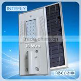 Best Price Guaranteed 15 watt all in one integrated solar led street light with lithium battery