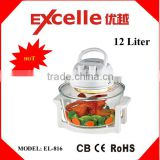 12L tempered glass electric halogen convection oven electric air fryer with CE, CB, ROHS approval