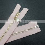 5# metal open end zipper with pearl pull for jacket ,auto lock custom zipper