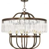 Bird cage shape classic indoor crystal pendant lamp