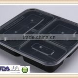 1000ml PP USA Dispoable Plastic 3 compartment Food Container SGS/FDA Microwave oven approval