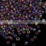 12/0 Frosted Glass Seed Beads, AB Color, Indigo, 1.5~2.0mm, Hole: 0.6mm; about 30000pcs/pound(SEED-A015-12-F5167)