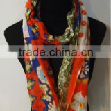 Floral Flower Print Cotton Linen Blended Scarf