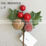 "2014 New Artificial Christmas Red/Gold Flower Pick 5"" Artificial Fruit Ball Flower With Berries"
