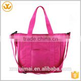 China supplier large capacity polyester peach red handle baby mama bags