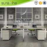 Sunshine Furniture 4 seat office glass partition workstation melamine finishing MFC board steel frame