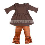 Wholesale girls ruffe pants sets costumes for kids cotton frock suit design boutique girls outfits