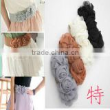 wholesale fashion Korean chiffon double flowers decorated women's elastic belt,girdle belt,weaven belt