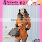 Wholesale Price Hot Sexy Fur Collar Warm Coat Tie Waistband Show Thin Casual Winter Women Overcoat