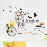 Free Shipping DIY Removable Wall Stickers Birdcage Tree post Bicycle Flower Basket sitting room bedroom Mural Decal JM7248