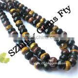 Fashion gemstone jewelry men's necklace tiger eye faceted round beads 6*10mm