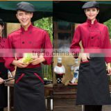 Custom made dark red shirt and black pant /apron Chef Uniforms restaurant waiter long sleeve work sets