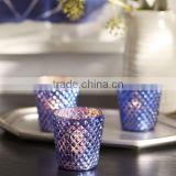 BLUE MERCURY GLASS VOTIVE CUPS, SET OF 3