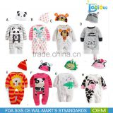 new arrival little panda pattern organic cotton baby rompers wholesale newborn baby clothes