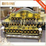 Italy Gorgeous 18/24K Gold Plated Living Room Furniture/ European Classic Royal Brass Carving Fabric Upholstery Gilded Sofa Set
