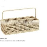 Hand woven seagrass storage basket for condiment and Caddy
