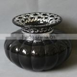 "Made in China antique black decorative vase,13.8""x13.8""X9""."