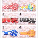 Cheap wholesale childrens boutique headbands various damask polka dots knit cotton hair bows low moq flower elastic headbands