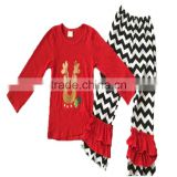 High Quality Toddler Boutique Deer Printed Outfits Kids Wear Clothing and Ruffle Pants Set Children Christmas Holiday Set