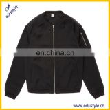 100 Polyester Zipper Kids Boys Black Bomber Jacket Wholesale
