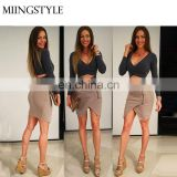 wholesale fashion bandage top and skirts dress , latest new sexy club 2 piece set bandage rayon dresses
