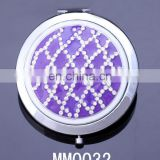 Shiny rhodium and purple colour compact mirror with gold colour design custom compact mirror