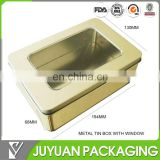 First grade plain metal tin box with PVC window on top hinged lid/tin lunch box plain
