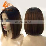 Highlight Natutal Color And #30 Silky Straight Bob Wig Black Women Short Hair Cuts Women Full Lace Wig Virgin Brazilian Hair
