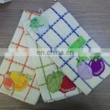 applique check towel set with pattern vegetables