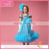 Wholesale pure blue sleeveless over knee dress hem feather decorated