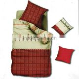 Reactive Dye Check Print Bedding Cotton Child Duvet Cover Bed Set 205TC In Red Cream Color