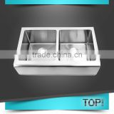 Modern style double bowl apron front sink