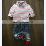2015 Cheap clothing for kids top and jean pants matching baby boy and girl outfits