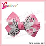 Fast shipping factory wholesale animal stripe ribbon bow hair barrette for yong girls (XH012-506)