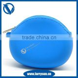 2015 Light blue Silicone zipper coin purses without any silk printing/ Small change purse