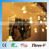 120LED 3*0.75M led Christmas lights holiday home ceiling window door decoration curtain light, heart/star/glass bulb