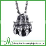 Fashion cheap pendant stainless steel eagle claw pendant with black bead necklace