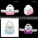 Vnisatr silver plated pink&cyan&purple enamel handbag shaped european beads with crystals PBD2505