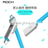 ROCK Cobblestone type c 2in1 cable 1m typec and micro USB Mutifunction metal TPE fast sync cable