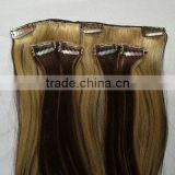 7pieces 21clips 120g/set Brazilian hair clip in hair/virgin human hair Full head clip in hair extensions european