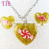 best selling yellow heart sweet candy design young girl earring indian jewelry set in latest design