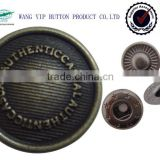 17mm metal military designer snap button for coat